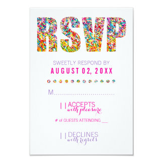"Candy Theme RSVP Card 3.5"" X 5"" Invitation Card"