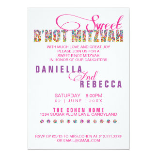 Candy Theme Sweet B'NOT MITZVAH Joint Party 13 Cm X 18 Cm Invitation Card