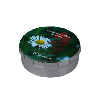 Candy Tin Party Favor 60th Anniversary White Daisy