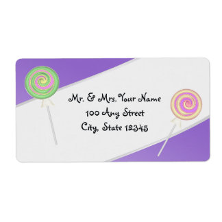 Candy Treasures Address in Purple Shipping Label