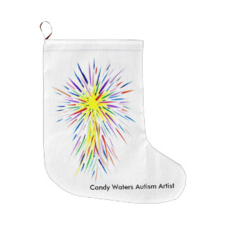 Candy Waters Autism Artist Large Christmas Stocking