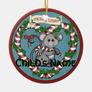 CandyCane Mouse Christmas Ornament