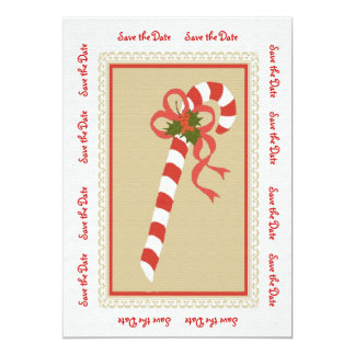 Candycane Save the Date Invitiation/Announcement 13 Cm X 18 Cm Invitation Card