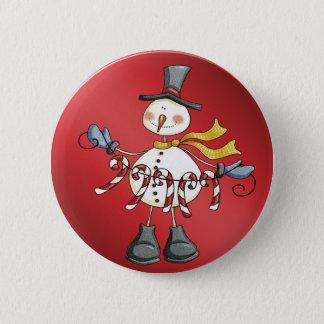 candycane snowman 6 cm round badge