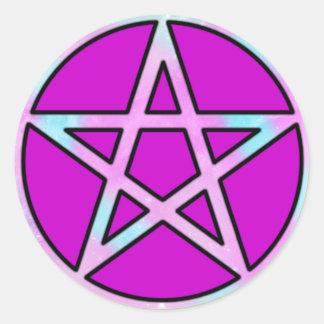 Candygram Pastel Pentagram Round Sticker