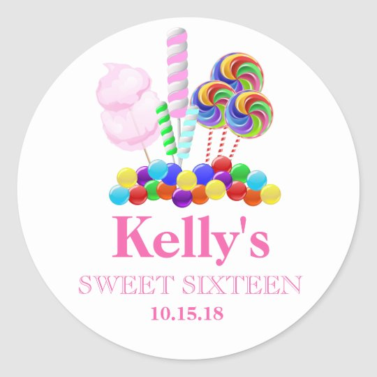 Candyland candy Theme Sweet 16 Favour Labels