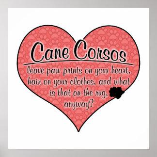 Cane Corso Paw Prints Dog Humor Poster