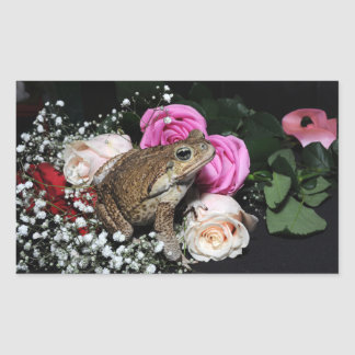 Cane toad in flowers rectangular sticker