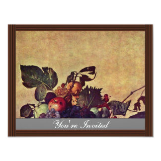 """Canestra Di Frutta By Michelangelo Merisi Da Carav 4.25"""" X 5.5"""" Invitation Card"""