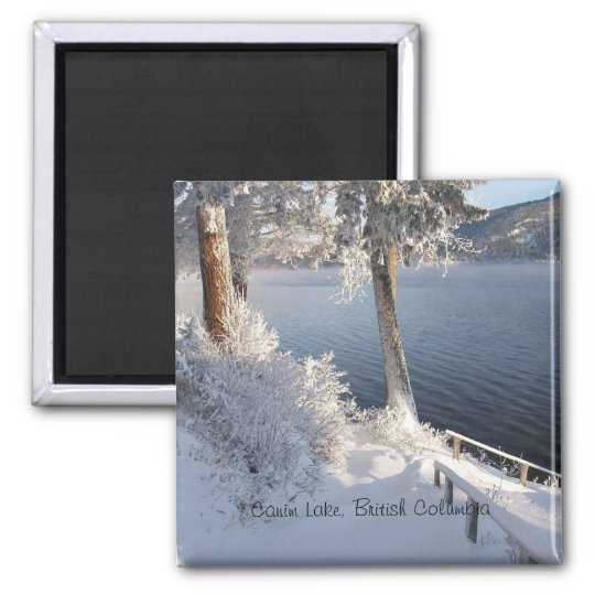 Canim Lake, British Columbia in Winter Square Magnet