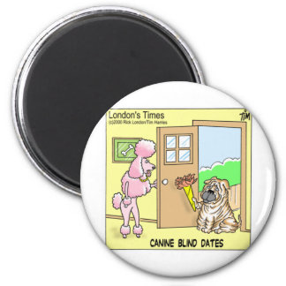Canine Blind Dates Funny Dog Cartoon Gifts & Tees 6 Cm Round Magnet