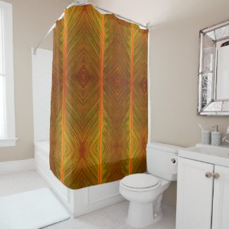 Canna Leaf Orange and Green Stripe Shower Curtain