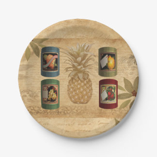Canned fruit pineapple paper plate