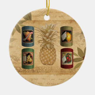 Canned fruit pineapple round ceramic decoration