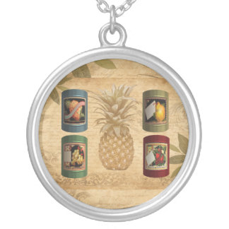 Canned fruit pineapple silver plated necklace