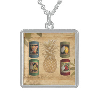 Canned fruit pineapple sterling silver necklace