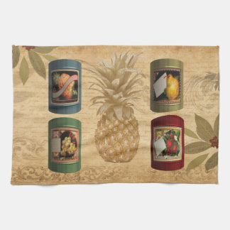 Canned fruit pineapple tea towel