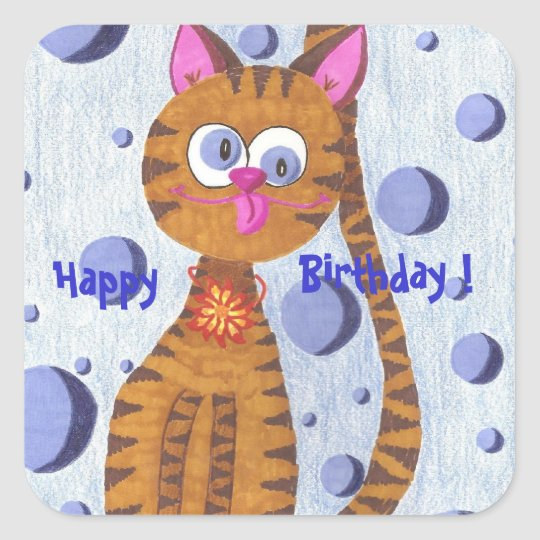 Cannelle the cat Happy Birthday ! square stickers