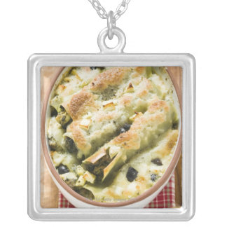 Cannelloni with spinach & sheep's cheese filling silver plated necklace
