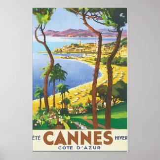 Cannes Cote D'Azur Vintage Travel Poster