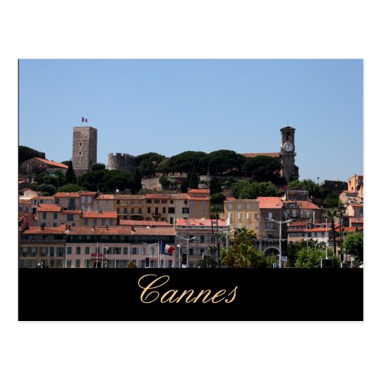 Cannes, old city view postcard