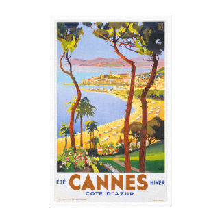 Cannes Vintage Travel Poster Gallery Wrapped Canvas