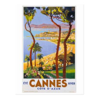 Cannes Vintage Travel Poster Postcard