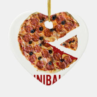 Cannibalism Pizza Eat Funny Food Ceramic Heart Decoration