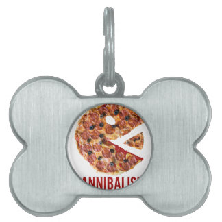 Cannibalism Pizza Eat Funny Food Pet ID Tag