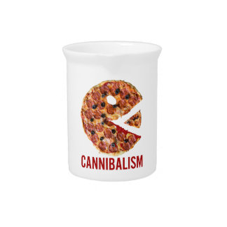 Cannibalism Pizza Eat Funny Food Pitcher