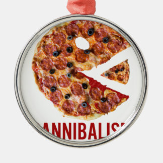 Cannibalism Pizza Eat Funny Food Silver-Colored Round Decoration
