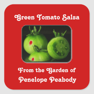 Canning Label for Green Tomato Salsa Custom Square Sticker