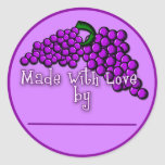 Canning Labels for Grape Jam, Jelly or Preserves Round Sticker