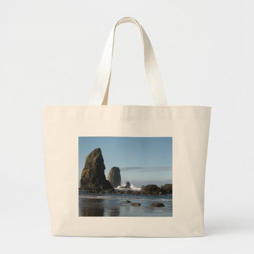 Cannon Beach and Haystack Rock wrapping paper Tote Bags