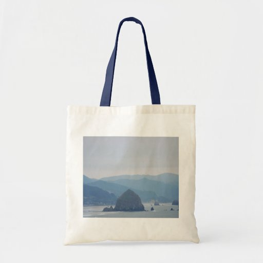 Cannon Beach Haystack in the mist Canvas Bag