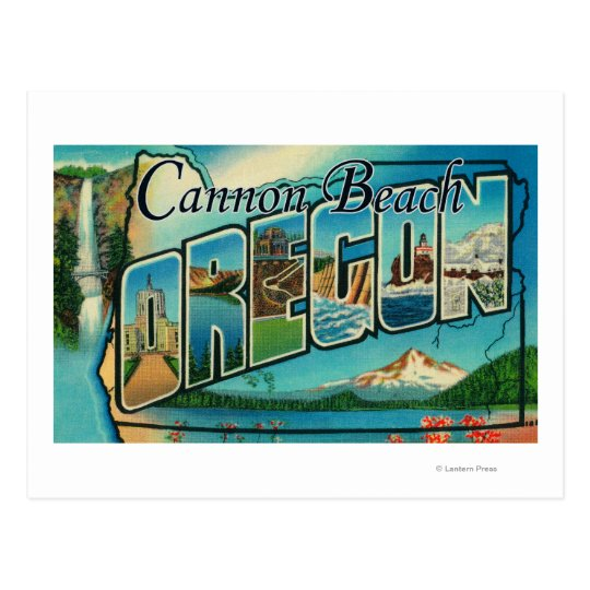 Cannon Beach, Oregon - Large Letter Scenes Postcard