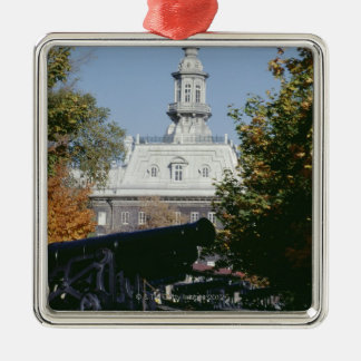 Cannon by historical building, Quebec, Canada Christmas Ornament