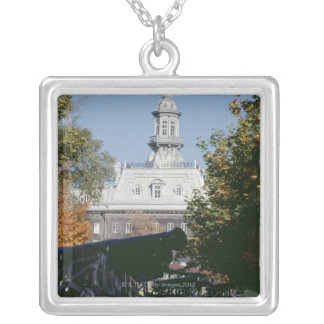 Cannon by historical building, Quebec, Canada Silver Plated Necklace