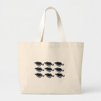 cannons in rows baby large tote bag