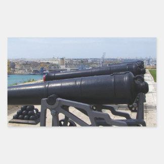 Cannons On Malta Rectangular Sticker