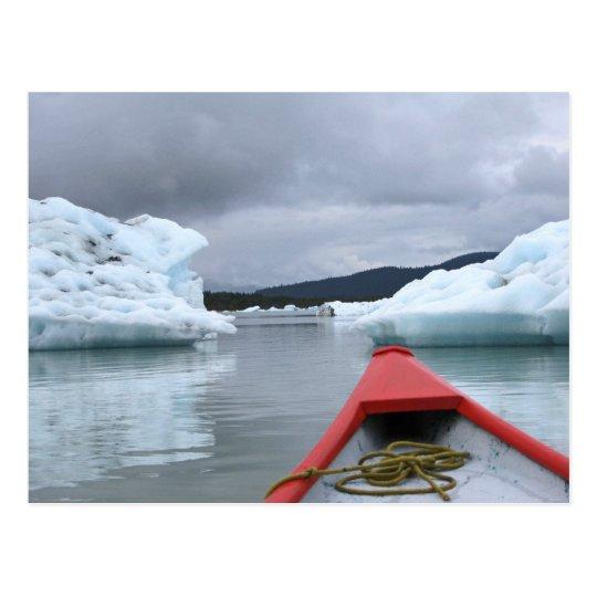 Canoe and Icebergs on Mendenhall Lake, Juneau Postcard