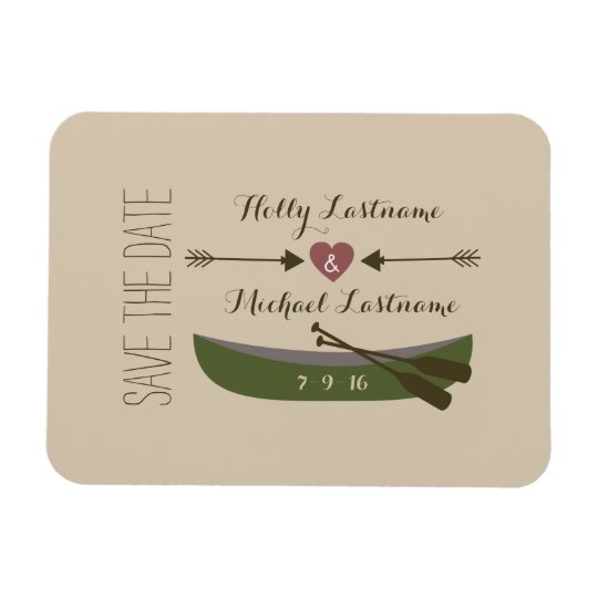 Canoe + Arrows With Heart Save The Date Magnet