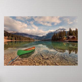 Canoe at Emerald Lake Poster