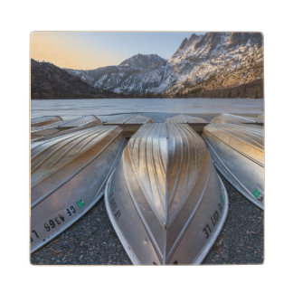 Canoe At The Lake Maple Wood Coaster