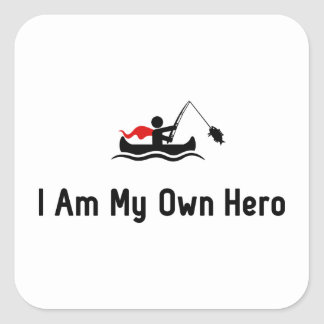 Canoe Fishing Hero Square Sticker