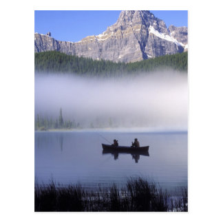 Canoe fishing Waterfowl Lake, Banff National Postcard