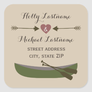 Canoe + Heart With Arrows Address Sticker