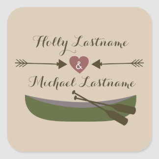 Canoe + Heart With Arrows Wedding Sticker
