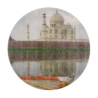 Canoe in water with Taj Mahal, Agra, India Cutting Board