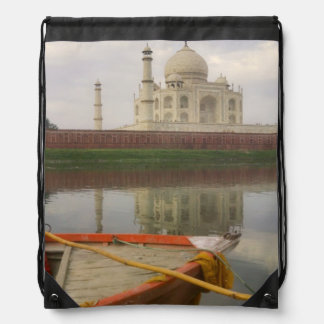 Canoe in water with Taj Mahal, Agra, India Drawstring Bag